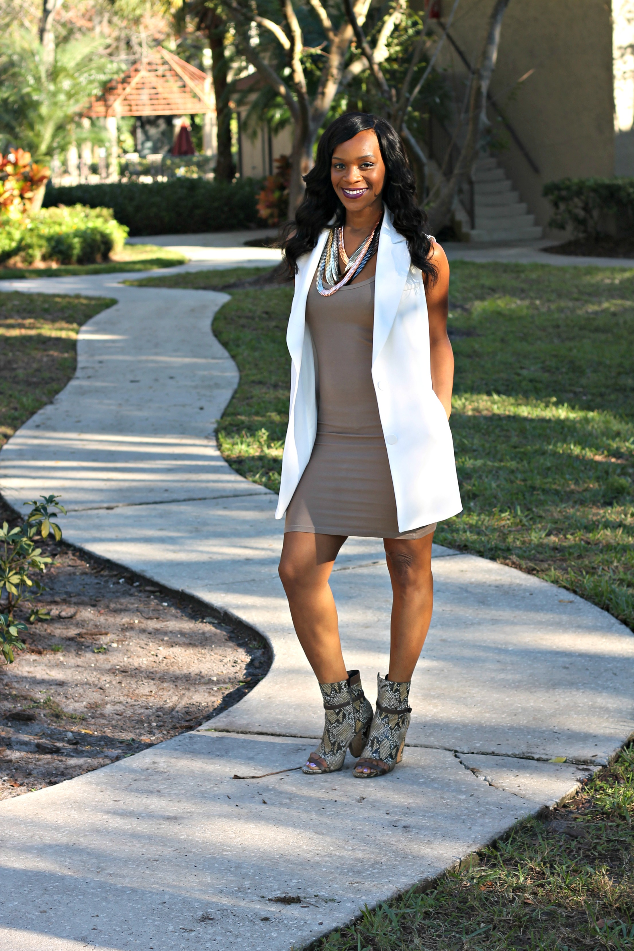 Taupe Dress And Orange Shoes