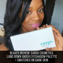 beauty & the beat EIC Margo holding cargo cosmetics land down under eyeshadow palette