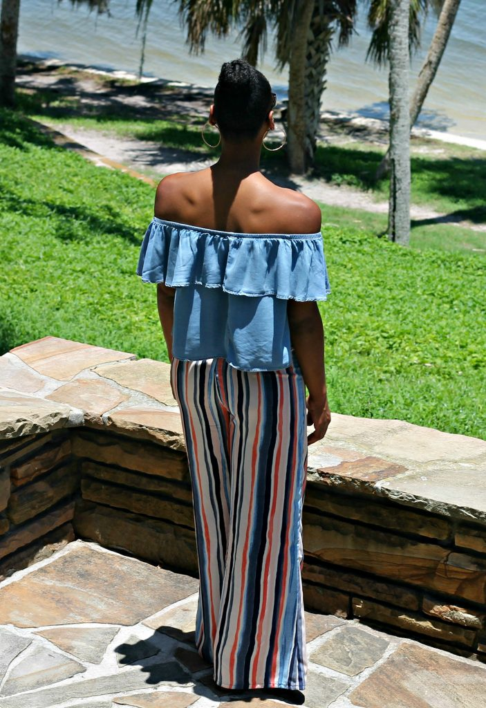 bar-three-striped-wide-legged-pants-denim-ruffle-off-the-shoulder-top-fashion-blogger-ootd-beauty-and-the-beat-blog