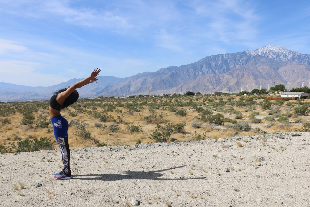 backbens-flow-black-girl-yoga-pose-palm-springs-california-mountains-self-care-positive-mantra-beauty-and-the-beat-blog