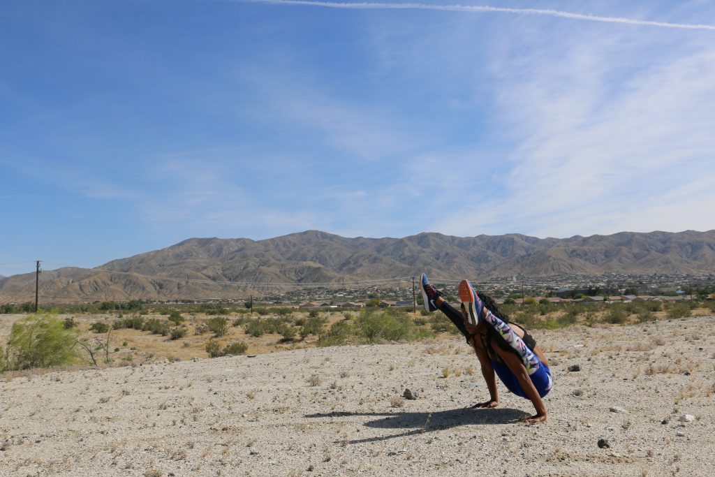 firefly-pose-black-girl-yoga-palm-springs-california-mountains-self-care-positive-mantra-beauty-and-the-beat-blog