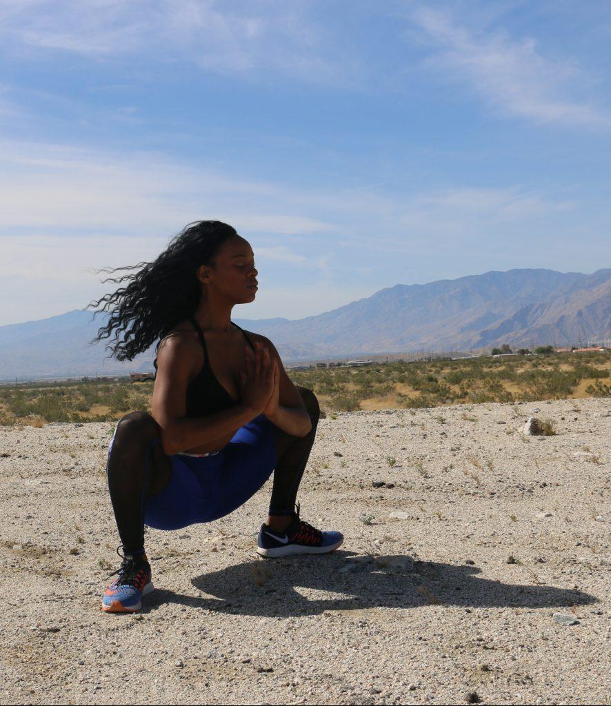 yogi-squat-pose-muladhara-black-girl-yoga-palm-springs-california-mountains-self-care-positive-mantra-beauty-and-the-beat-blog